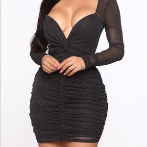 New Fashion Nova Hologram Glitter Ruched Dress M